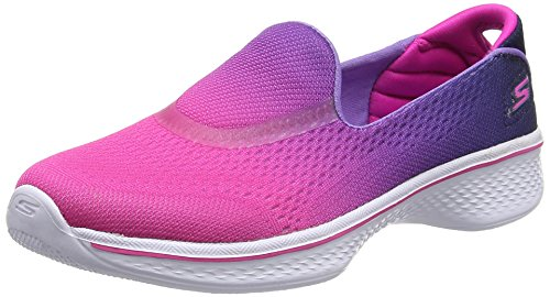 Skechers Go Walk 4- Sporty Starz, Girls' Low-Top, Pink (Hot Pink/Purple), 2...