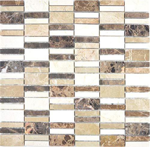 Marmor Mosaik Stein emperador dark cremarfil Wand Boden Küche Dusche Bad Fliesenspiegel|88-1213_f|10 Mosaikmatten -