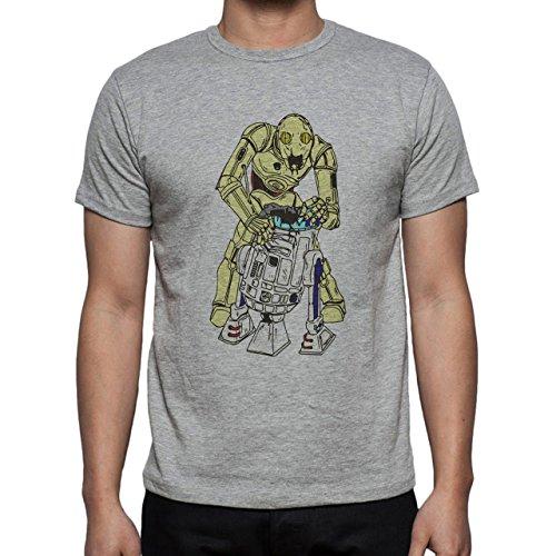 Robot Metal Cyborg Cartoon Zombies Star Wars Herren T-Shirt Grau