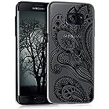 kwmobile Étui transparent élégant avec Design fleurs paisley pour Samsung Galaxy S7 edge en noir transparent