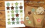 Set 24 Weihnachtstütchen Geschenkverpackung / Adventskalender zum Basteln und selber Befüllen - DIY Beutel Tüten mit bunten Weinachtssternen