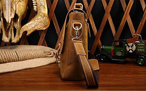 DJB/ Leder Mann Tasche retro Herren Business Laptop Aktentasche Schulter geschlungen Taschen yellow-brown