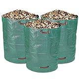 Schramm 3 Stück Gartensäcke 300L Grün Robusten Polypropylen Gewebe PP Gartensack Garten Sack Säcke Grünschnitt Gartenabfall Big Bag 3er Pack