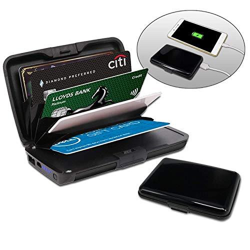 Kreditkartenetui aus Aluminium mit powerbank   blockiert RFID und NFC   Kartenhüllen aus Aluminium   Powerbank 2000mAh   2 IN 1 Kartenetui und Powerbank   Schwarze Farbe
