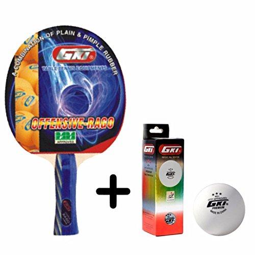 GKI Offensive Rago Table Tennis Combo Set (GKI Offensive Rago Table Tennis Racquet + GKI Premium 3 Star 40 Table Tennis Ball, Box of 3 - White)  available at amazon for Rs.1337