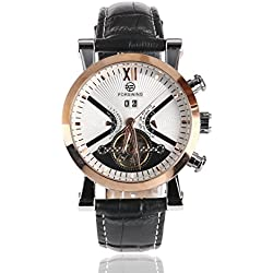 ULTNICE Men's Tourbillon Mechanical Watch with White Dial Analogue Display and Rose Golden Case WM354
