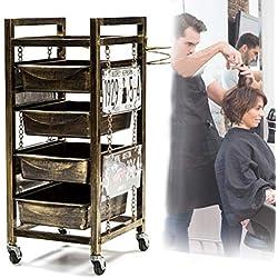 Chariot de Coiffeur rétro avec 4 tiroirs coulissants beauté Outil Rangement Cheveux Spa Salon de Coiffure Coiffeur Rouleau