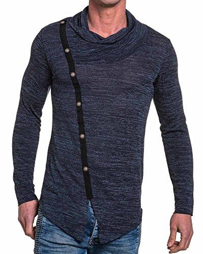 BLZ jeans - Pull fin doux navy col châle Bleu