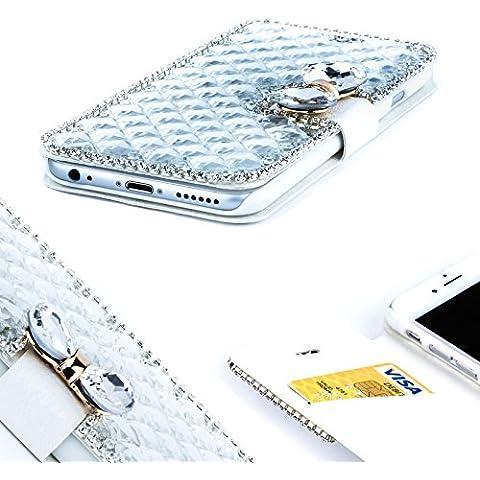 Ixen® lusso con strass, fiocco e cristalli, Diamond-Custodia Flip a portafoglio per iPhone 5s, 5c, 5 SE