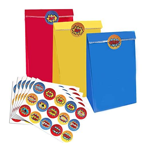 U&X Superhero Party Bags & Stickers - 30 3-farbige rote, gelbe und Blaue Partytüten mit 60 Superhero-Aufklebern, Superhero Party Gift Supplies -