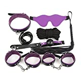 Rawdah 7 Pcs SM Bondage Set Adulto Kit Esposas Ball Whip Collar Fetiche Juguetes Sexuales (A)
