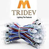 MY TRIDEV TRADERS 12 mm IC Wire Cable Module String DC 5V Input IP68 Waterproof RGB Digital LED Pixel Light (Multicolour, 5-inch) -50 Pieces