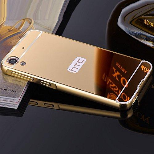 AEMA (TM) Luxury Metal Bumper + Acrylic Mirror Back Cover Case For HTC DESIRE 820 GOLD