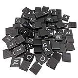 display08100PCS Englisch Buchstaben Alphabet aus Holz Cube Scrabble Kinder Spiel DIY Dekoration–Schwarz