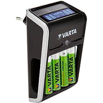 Varta LCD Plug Ladegerät (geeignet für AA/AAA/9V und USB-Geräte inkl. 4x AA 2100 mAh) schwarz