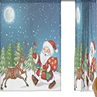 jstel Merry Christmas 2 pezzi tenda in voile, colore blu notte d' inverno Natale Babbo Natale alce, Tulle Sheer Curtain Drape Valance 139,7 x 198,1 cm Set di due pannelli, Poliestere, Blue, 55x84x2(in)