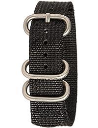 Bertucci B-192Hombres de malla de nailon resistente dos capas negro reloj banda