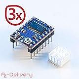 AZDelivery ⭐⭐⭐⭐⭐ 3 x DRV8825 Schrittmotor-Treiber-Modul mit Kühlkörper, z.B. für RAMPS 1.4, CNC-Shield, 3D Drucker, Prusa Mendel