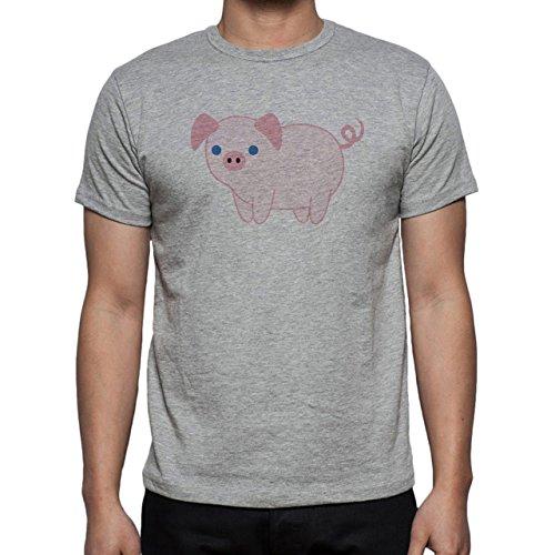 Pig Animal Farm Hog Blue Pink Eye Herren T-Shirt Grau