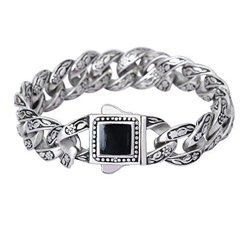 JOLIN Weinlese -Silber-Ton-Armband für Männer mit schwarzer Obsidian Beschlagene