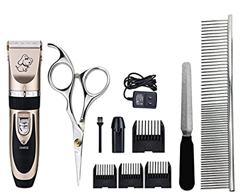 Pet Hair Clippers Kits, Superstar Rechargeable Low Noise Cordless Pet Electric Grooming Hair Trimmer Cutter Shaver Razor with 4 Comb Guides & 3 extra Tools for Dogs Cats and