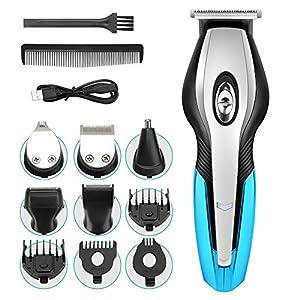 Haarschneider Herren Haarschneidemaschine Set, MANLI 6 in 1 Multi-Grooming-Kit Set, Wasserdicht für Bart, Kopf und Körper Rasierer herren elektrisch Bartschneider Barttrimmer Körperhaarschneider Blau