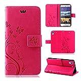 betterfon | Flower Case Handytasche Schutzhülle Blumen Klapptasche Handyhülle Handy Schale für HTC Desire 628 Pink