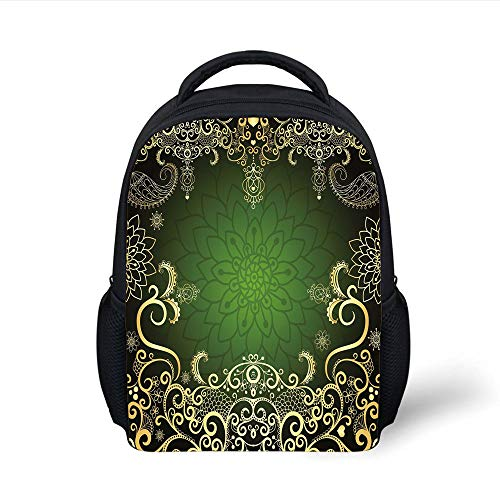 Kids School Backpack Gold Mandala,Arabesque Frame with Lotus Shade Floral Swirls Little Hearts and Dots Decorative,Green Gold Black Plain Bookbag Travel Daypack