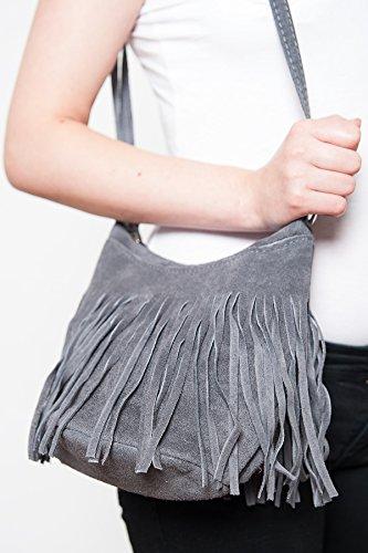 Borse a spalla , Borse a tracolla , sacchetto di frange ( 23/ 17/ 15 cm)in pelle Mod. 2063 by Fashion-Formel grigio