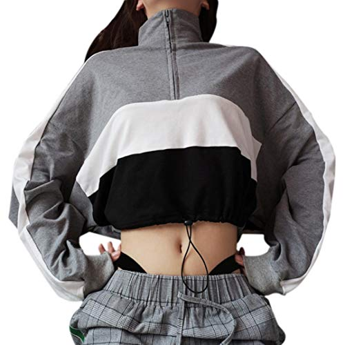 Sweatshirt Damen Kolylong® Frauen Beiläufig Streifen Patchwork Sweatshirt Herbst Mode Langarmshirts Kurz Zipper Pullover Sport Oberteil Bauchfrei Jumper T-Shirt Pulli Mantel Crop Tops (Grau, L)