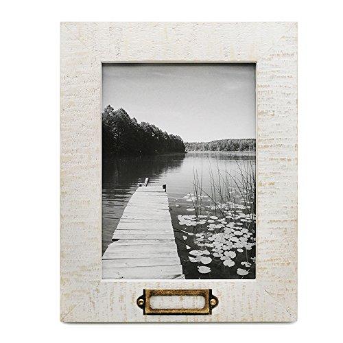 5x 7Holz Bilderrahmen mit Metall-Tag Plaque, Retro Distressed Foto Rahmen 5von 17,8cm (Jetzt Zeigt Bilderrahmen)