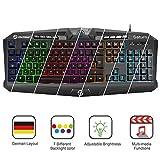 (German Layout)UtechSmart Saturn, Hintergrundbeleuchtung mit 7 Farben, USB-Multimedia-Spieletastatur, Wasserdichte Entwässerungslöcher, 19 Nicht-Konflikt-Tasten