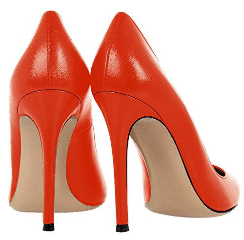 Guoar Damen Große Größe Geschlossene Toe Pumps Spitze Zehen Rutsch Mehrfarbig Stiletto Büro-Dame Ballsaal Party Hochzeit Orange
