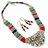 Nepali Work Jewelry! Blue Turquoise, Lapis, Red Coral Sterling Silver Overlay 89 Grams Necklace 18