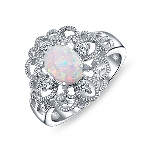 Bling Jewelry Oval synthetischer Weiß opal Vintage Style filigrane Blüte Ring 925 Silber