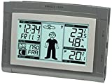 Technoline WS 9611-IT Wetterstation mit Vorhersage von Wettersituation mit Hilfe desWeather-Boys, Anzeige von Wettertendenz und Innen und Außentemperatur, grau, 12,5 x 3 x 95 cm