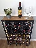 Weinregal, Urban Vintage Stil, rustikal, Zinn, 36 Flaschen, keine Montage nötig