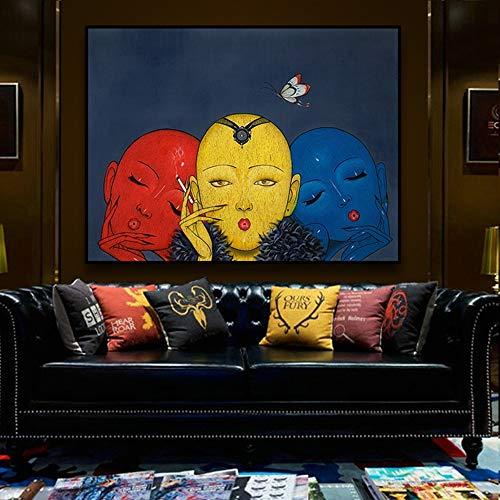 Chlyuan-hm Wandkunst Leinwand-Wand-Kunst-Wand-Bilder Schwarz Großen Avatar-Wand-Dekor auf-Leinwand-Grafik Wohnzimmer Schlafzimmer fertig zum Aufhängen für Moderne Hauptdekoration