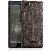 kwmobile Funda dura para Wiko Fever 4G - Hard Case de plástico para móvil - Cover duro Diseño Madera vintage en marrón oscuro