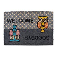 "Relaxdays Coconut Fibre OWL Doormat ""Welcome - Goodbye"" 40 x 60 cm Coir Welcome Mat with No-Slip Rubber PVC Underside, Grey"