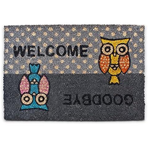 """Relaxdays – Felpudo con un búho impreso """"Welcome-Goodbye"""" para la entrada de su hogar hecho de fibras de coco y PVC con medidas 40 x 60 cm antideslizante elemento decorativo, color"""