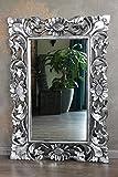 Naturesco Eleganter Barockspiegel Wandspiegel Holz silber antik 100cm x 70cm Hoch Queraufhängung