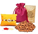 #8: Tied Ribbons Rakhi for Brother with Dry Fruits Designer Rakhi with Almondsand Roli Chawal