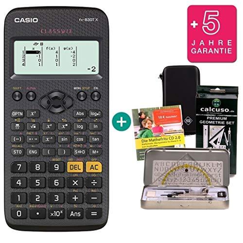 Casio FX-83GTX Schwarz + SafeCase Schutztasche + Garantieverlängerung auf 60 Monate + Geometrie Set von Calcuso + Mathefritz Lern-CD (Deutsch)