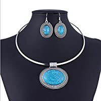 Chunky Oval Turquoise Tibet Silver Pendant Torque Necklace Earrings Choker Set Blue