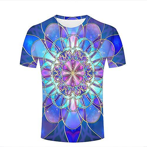 Mens 3D Printed Casual T-Shirts Fantasy Kingdom Abstract Blue Flowers Crewneck Short Sleeve Fashion Couple Tees S -