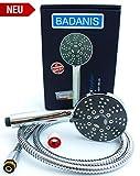 BADANIS® - Premium Duschkopf mit Schlauch 150 cm, DN 105 mm - 5 Strahlarten Handbrause, wassersparende Brausekopf inkl. Antikalk Silikonnoppen, Duschbrause mit Brauseschlauch Duschkabine & Badewanne