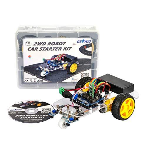 OSOYOO Projekt Smart 2WD Roboter Auto Starter Kit , Linien Tracking Modul, IR-Modul, Bluetooth Modul, Intelligente und Pädagogische Spielzeugauto Roboter Kit für Kinder Teens ...