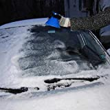Womdee Windshield, 2 in 1 Scrape a Round Scraper Magic Brush to Clean The Ice and Snow on The Car, Blue, L
