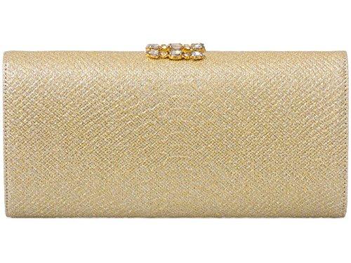 Hautefordiva , Damen Clutch Königsblau M gold
